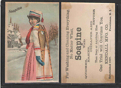 1880s SOAPINE { FOREIGN WOMAN IN WINTER OUTFIT } VICTORIAN TRADE CARD