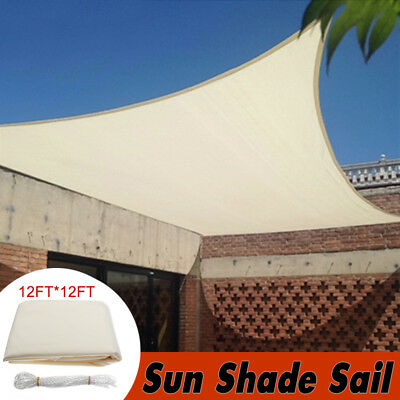 12' Square Sun Shade Sail Canopy Patio Awning Garden UV Block Top Shelter Beige