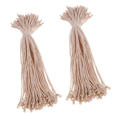 200 Pieces  Tag Cotton Fasteners Bullet Tie String 7.5 inch Beige