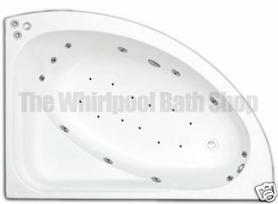 White Right Hand 23 Jet Offset Whirlpool Corner Bath Jacuzzi Spa