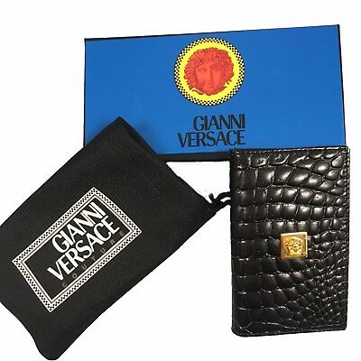 New in box vintage 90s gianni versace faux crocodile business card new in box vintage 90s gianni versace faux crocodile business card holder black colourmoves