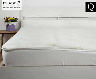 Phase 2 Gel-Infused Memory Foam w/ Bamboo Cover Fitted Queen Bed Mattress Topper
