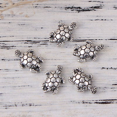 lot de 10 perles tortues argent tibétain 13x9 mm argenté