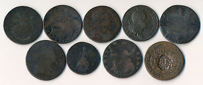 9 COPPERS FROM LATE 1700's (NOT PRETTY BUT AUTHENTIC) NO RESERVE