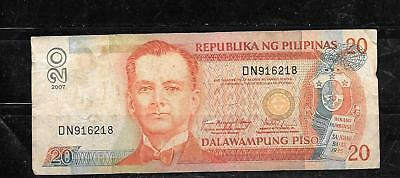 PHILIPPINES #182i 2007 20 PISO VG CIRC BANKNOTE PAPER MONEY CURRENCY BILL NOTE