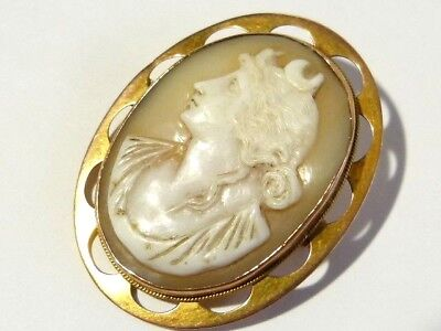 Antique 9ct Yellow Gold Carved Shell Cameo Brooch Luna God of Solar Eclipse