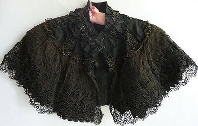 Victorian Baby's or Childs Mourning Shawl Black Glass Beads Lg Lace Panel Satin