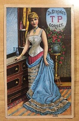 Victorian Trade Card DR. STRONG'S TP CORSET c1880's Advertising LEWISTON, ME