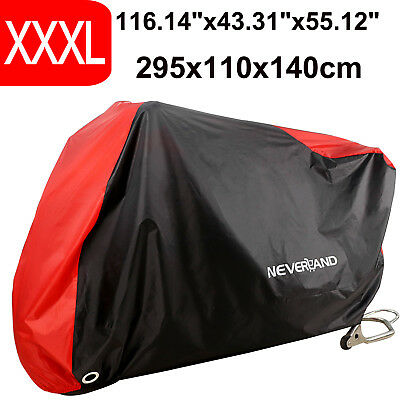 XXXL 190T Waterproof Rain Dust Motorcycle Cover Red&Black Outdoor UV Protection