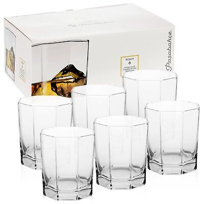 6 x Pasabahce Octagonal Whiskey Glasses Drinking Tumblers Wedding Gift Boxed Set