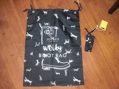 Bnwt Joules Packaway Printed Drawstring French Navy Dog Welly Boot Bag - Storage