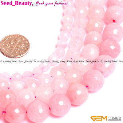 """Natural Rose Quartz Gemstone Faceted Round Loose Beads for Jewelry Making 15"""""""