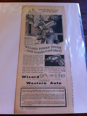 Vintage 1956 Western Auto Wizard Portable Saw Print Art ad