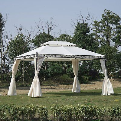 Outsunny 13'L x 10'W  2-Tier Gazebo Canopy Patio Party Tent W/ Curtains