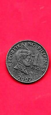 PHILIPPINES KM269a 2007 XF-SUPER FINE-NICE LARGE PISO COIN