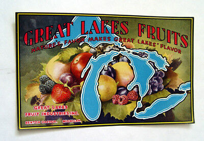 1930's BENTON HARBOR MICHIGAN FRUIT MARKET GREAT LAKES FRUIT ADVERTISING SIGN