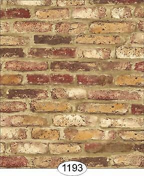 Miniature Dollhouse Wallpaper 1:12 Scale Tumbled Brick Red - 1193