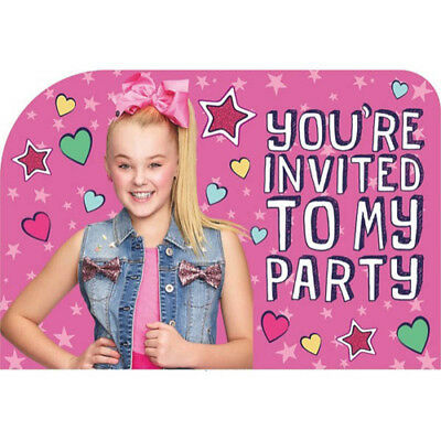 JOJO SIWA Pink INVITATIONS 8 Birthday Party Supplies Stationery Cards Notes
