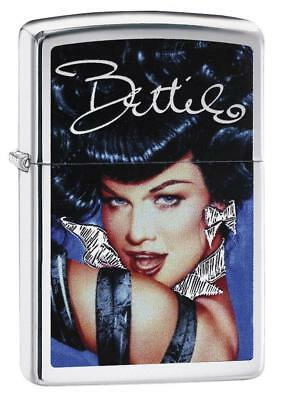 "Zippo ""Bettie Page-Pinup"" Lighter, Brushed Chrome Finish, Full Size, 29584"