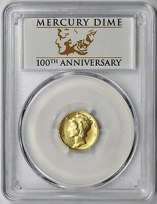 2016-W 24K Gold 1/10 oz Mercury Dime 10C Centennial SP 70 PCGS First Strike