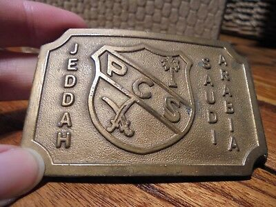 Vintage Belt Buckle PCS PARENT COOPERATIVE SCHOOL Saudi Arabia TWA Employee