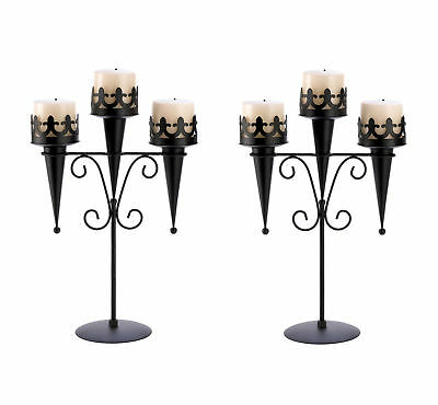 2 Medieval Gothic Triple Pillar Candle Holder Stand Set Pair Black Iron 14114
