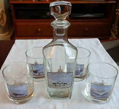 Vintage Concorde Decanter & 4 Glass Tumblers Limited Edition Boxed UNUSED