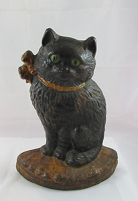 Antique Hubley Black Cat with Bow on Pillow Cast Iron Doorstop