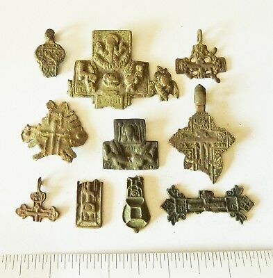 Lot Of Ancient Bronze Crosses Fragments (s102).