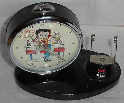 Black Betty Boop Collectible Vintage Alarm Clock Works missing Calendar Piece