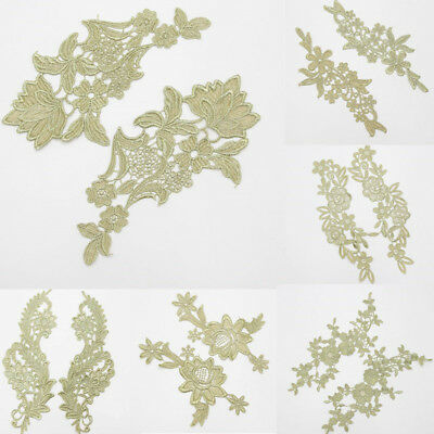 1Pair Flower Lace Trim Embroidery Sewing Crafts Wedding Dresss Costume DIY Decor