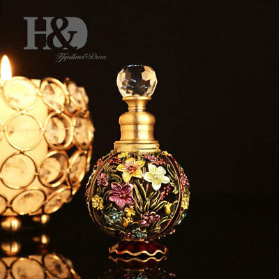 Vintage Empty Crystal Perfume Bottle Metal Flowers Stopper Antique Lady Gift 6ML