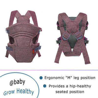 Infant Baby Kids Cuddle Up Chest Ergonomic Carrier Grey Baby Front Back Carry