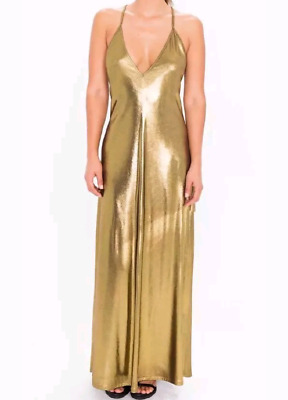 8abb586ec8 NEW AMERICAN APPAREL Metallic Jersey Strappy Maxi Dress Gold Size M ...