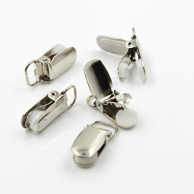 20 Pcs Metal Holder Insert Pacifier Silver Tone Suspender Clips Mitten Lead Free
