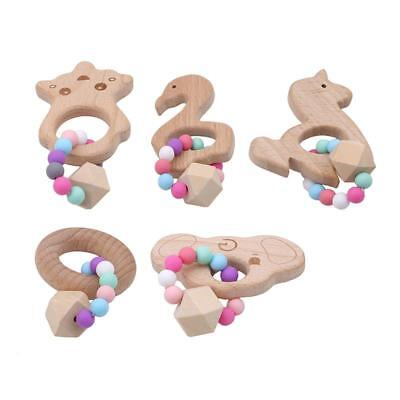 Safety Wooden Natural Baby Teething Ring Cute Wood Animal Shape Teether Toy B