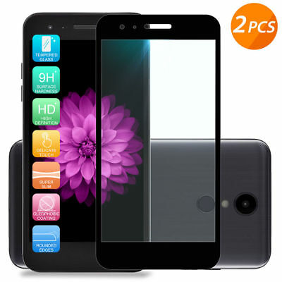 For LG Aristo Rebel Phoenix 4/3/2 [2-Pack] Black Tempered Glass Screen Protector