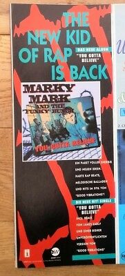 MARKY MARK 'Believe' 1992 GERMAN magazine ADVERT/Poster/clipping 11x4 inches