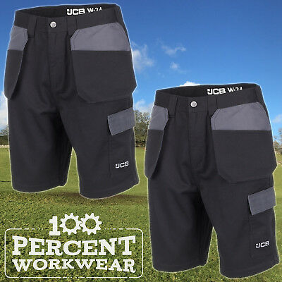 Twin Pack JCB Essential Black Grey Mens Work Shorts Cargo Holster Tool Pockets