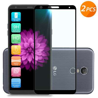 For LG Stylo 4 /Plus[2-Pack] Black Full Coverage Tempered Glass Screen Protector