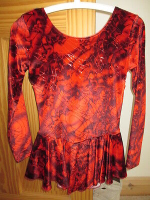 **Red & Black Pretty Detailed Long Sleeve Skating Dress**Size 32**