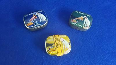 N1: 3 His Master's Voice Needle Tins: Half Tone, Soft & Extra Loud w Contents