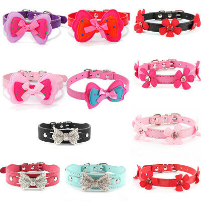 Lot Small Pet Collar Cat Dog Puppy Flower Leather Adjustable Necklace Collars US