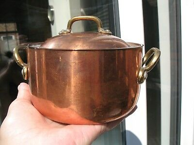 Vintage Copper with Brass Handles Pot with Lid Small Casserole Dish Sauce VGC