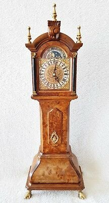 Miniature Longcase Clock Moon Dial Single Bell Strike Silent Option Warmink