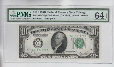 Federal Reserve Note $10 1928-B Red. in gold PMG Graded ch. unc 64EPQ