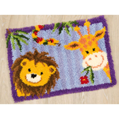 Giraffe & Lion Vervaco latch hook kit Rug Making kit 55x40cm latch hook canvas