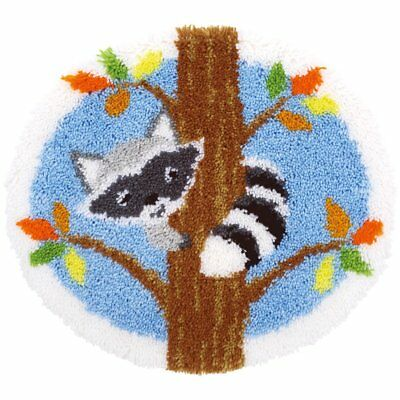 Raccoon In A Tree Latch Hook Kit Rug Making Kit 54x50cm Vervaco. Printed Canvas