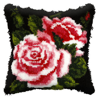 Pink Rose Latch Hook Cushion Front Kit. Orchidea, 40x40cm Printed canvas