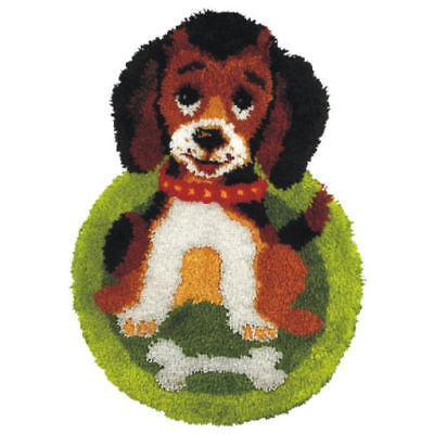 Shaped Puppy Latch Hook Rug Making Kit. Orchidea, 50x74cm Printed canvas